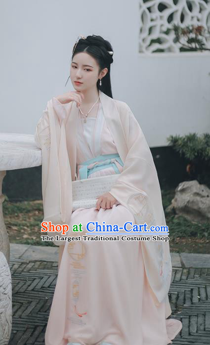 Chinese Ancient Song Dynasty Embroidered Hanfu Dress Traditional Drama Nobility Lady Historical Costume for Women