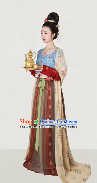 Traditional Chinese Tang Dynasty Court Maid Embroidered Hanfu Dress Ancient Drama Palace Lady Historical Costume for Women