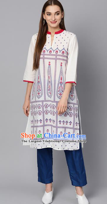 Asian India Traditional Informal Costumes South Asia Indian National White Blouse and Pants for Women