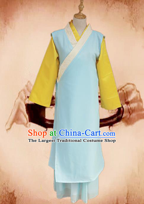 Traditional Chinese Ming Dynasty Young Lady Blue Hanfu Dress Ancient Maidservants Costume for Women