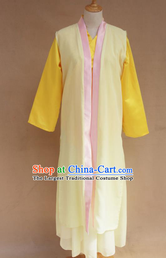 Traditional Chinese Ming Dynasty Young Lady Yellow Hanfu Dress Ancient Maidservants Costume for Women