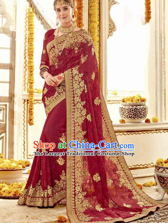 Asian India Traditional Court Wedding Amaranth Sari Dress Indian Bollywood Bride Costume for Women