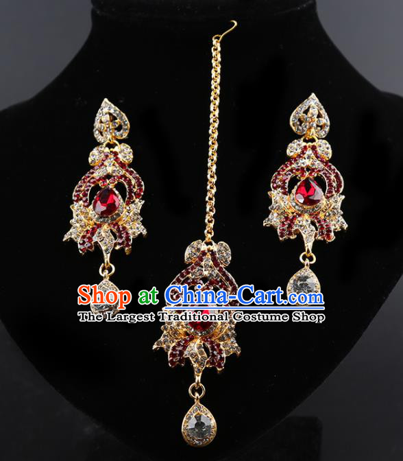 Indian Traditional Wedding Red Crystal Earrings and Eyebrows Pendant India Bollywood Court Princess Jewelry Accessories for Women