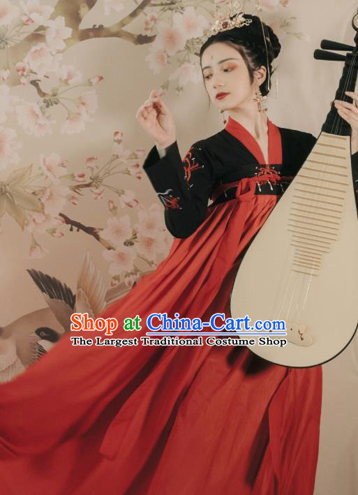 Ancient Chinese Tang Dynasty Historical Costume Traditional Court Lady Embroidered Hanfu Dress for Women