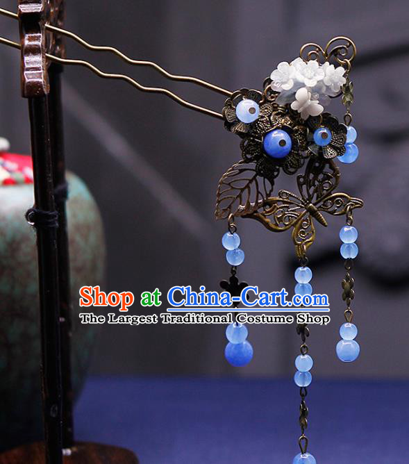 Traditional China Ancient Princess Blue Beads Tassel Hairpins Chinese Hanfu Hair Accessories for Women