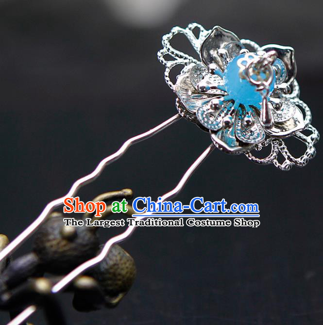 China Ancient Princess Blue Bead Hairpins Chinese Traditional Hanfu Hair Accessories for Women