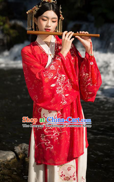 Traditional Chinese Ming Dynasty Wedding Red Hanfu Dress Ancient Princess Historical Costume for Women