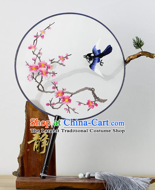 Chinese Traditional Hanfu Embroidered Wintersweet Palace Fans Ancient Princess Dance Silk Round Fan for Women