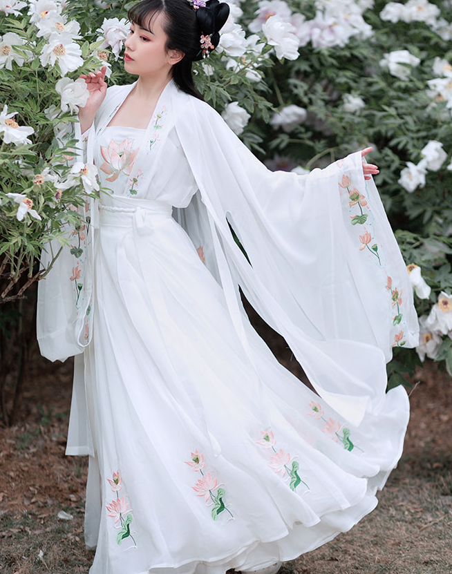 Traditional Chinese Tang Dynasty Court White Hanfu Dress Ancient Peri Princess Embroidered Historical Costume for Women