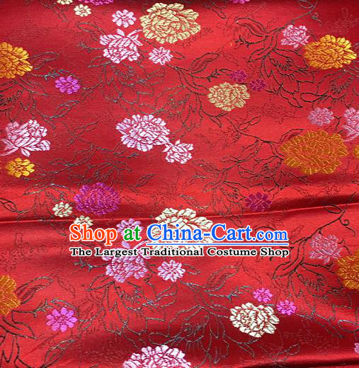 Traditional Chinese Peony Pattern Design Red Brocade Classical Satin Drapery Asian Tang Suit Silk Fabric Material
