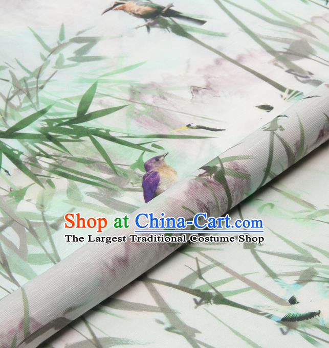 Chinese Traditional Classical Bamboo Birds Pattern Brocade Damask Asian Satin Drapery Silk Fabric
