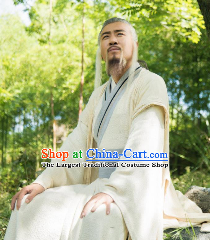 Chinese Ancient Zhou Dynasty Prime Minister Jiang Ziya Drama The Legend of Deification Costume for Men