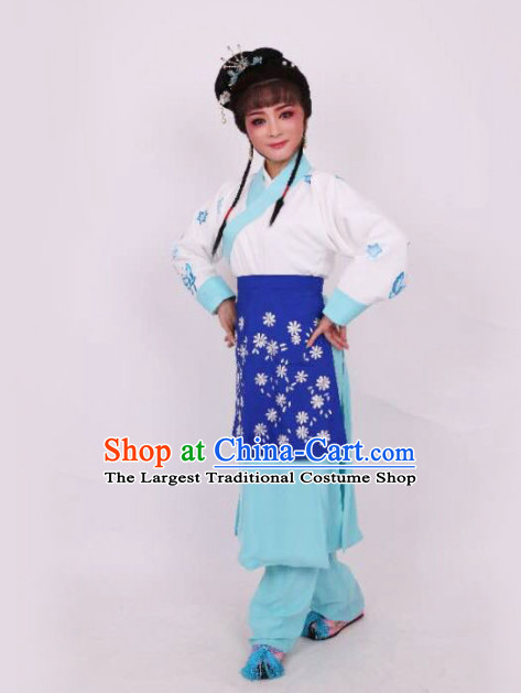 Chinese Traditional Peking Opera Maidservants Blue Dress Ancient Court Maid Embroidered Costume for Women