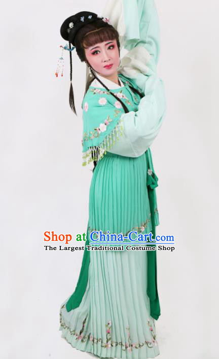 Chinese Traditional Opera Court Lady Green Dress Ancient Beijing Opera Diva Embroidered Costume for Women