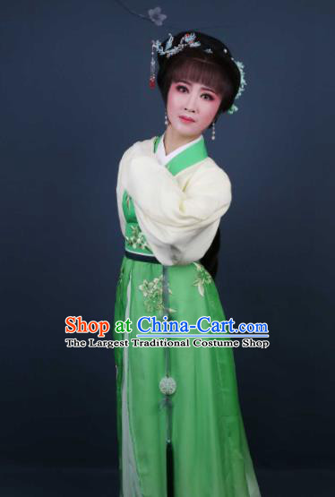 Chinese Traditional Opera Peri Green Dress Ancient Beijing Opera Diva Embroidered Costume for Women