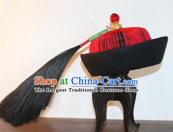 Chinese Ancient Drama Manchu Royal Highness Hat Traditional Qing Dynasty Minister Headwear for Men