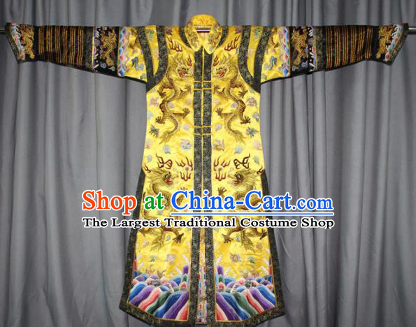 Chinese Traditional Drama Manchu Empress Embroidered Golden Dress Ancient Qing Dynasty Queen Costume for Women