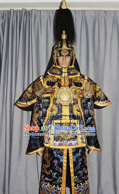 Chinese Traditional Drama Costume Ancient Qing Dynasty Manchu General Helmet and Body Armour for Men