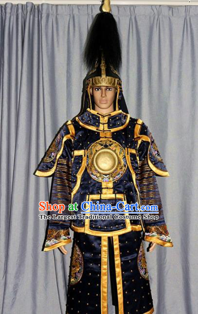 Chinese Traditional Drama Tabard Costume Ancient Qing Dynasty Manchu General Helmet and Body Armour for Men