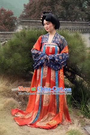 Chinese Ancient Tang Dynasty Wedding Hanfu Dress Traditional Court Lady Replica Costume for Women