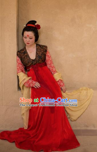 Chinese Ancient Tang Dynasty Las Meninas Replica Costume Traditional Court Lady Hanfu Dress for Women