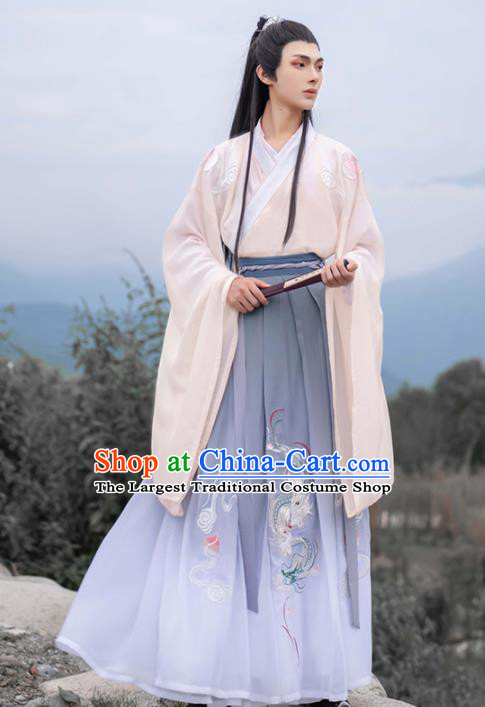 Chinese Traditional Nobility Childe Hanfu Clothing Ancient Jin Dynasty Scholar Embroidered Historical Costume for Men
