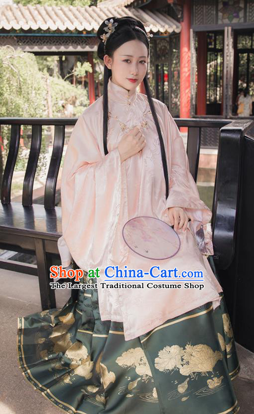 Asian Chinese Ming Dynasty Palace Princess Replica Costume Traditional Ancient Court Pink Hanfu Dress for Women