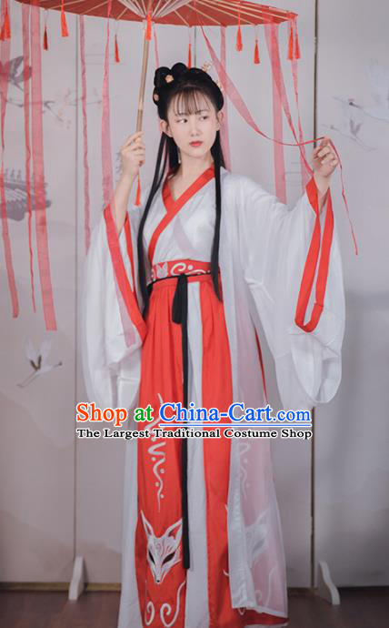 Asian Chinese Han Dynasty Court Lady Replica Costume Traditional Ancient Palace Princess Dance Hanfu Dress for Women