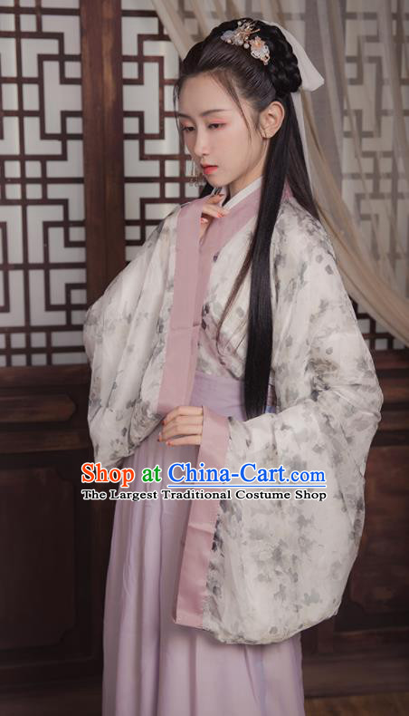 Ancient Chinese Jin Dynasty Princess Replica Costume Traditional Court Lady Printing Hanfu Dress for Women