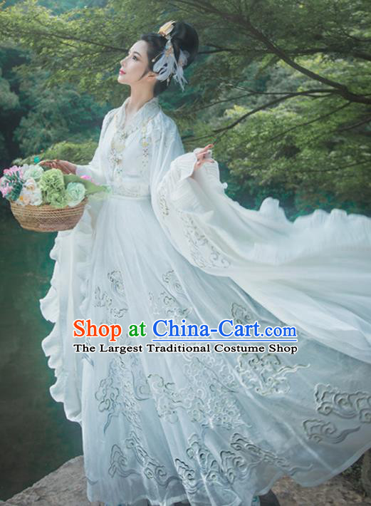 Ancient Chinese Mythology Goddess White Embroidered Hanfu Dress Traditional Jin Dynasty Imperial Consort Replica Costume for Women