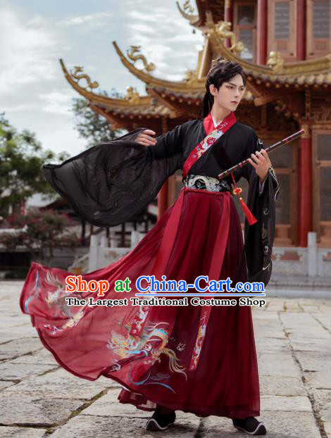 Chinese Traditional Wedding Hanfu Clothing Ancient Jin Dynasty Crown Prince Embroidered Historical Costume for Men