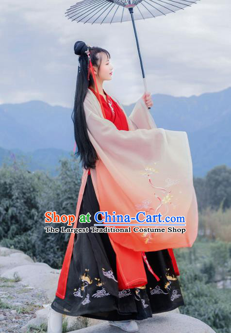 Chinese Traditional Han Dynasty Imperial Consort Hanfu Dress Ancient Court Princess Embroidered Historical Costume for Women