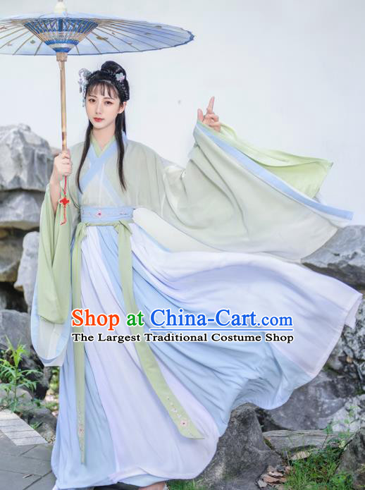 Chinese Traditional Jin Dynasty Princess Hanfu Dress Ancient Peri Goddess Embroidered Historical Costume for Women