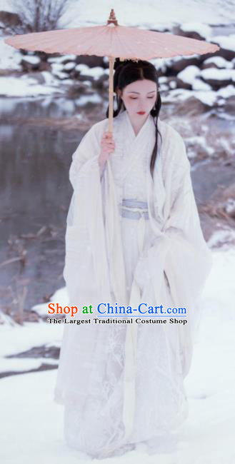 Chinese Ancient Jin Dynasty Imperial Princess White Hanfu Dress Traditional Court Lady Embroidered Replica Costume for Women