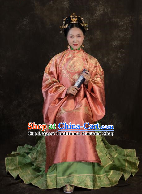 Ancient Chinese Ming Dynasty Empress Hanfu Dress Traditional Court Queen Replica Costume for Women