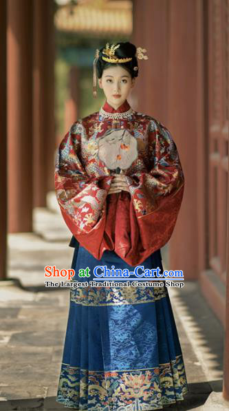 Ancient Chinese Ming Dynasty Princess Wedding Hanfu Dress Traditional Court Lady Replica Costume for Women