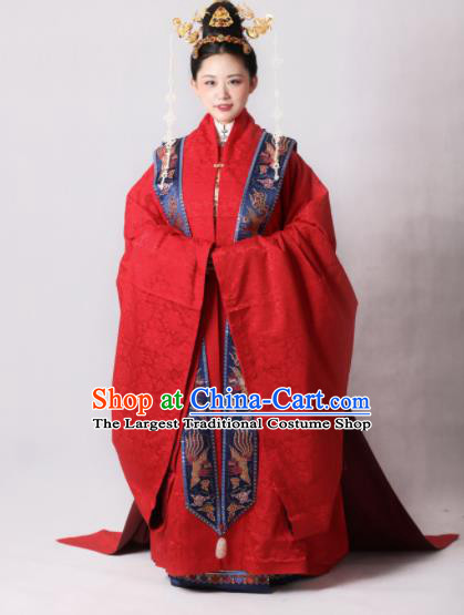 Chinese Traditional Ming Dynasty Court Wedding Red Hanfu Dress Ancient Imperial Empress Replica Costumes for Women