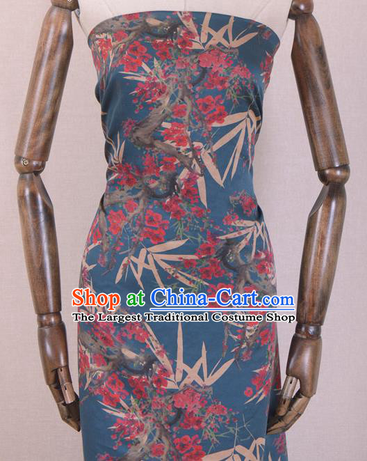 Chinese Classical Bamboo Plum Blossom Pattern Design Blue Gambiered Guangdong Gauze Traditional Asian Brocade Silk Fabric