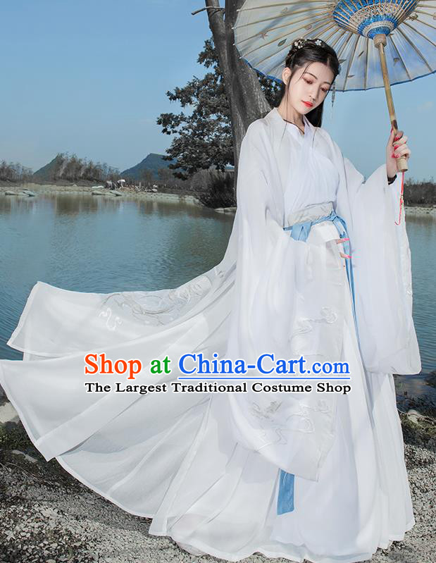 Chinese Ancient Peri Hanfu Dress Antique Traditional Jin Dynasty Princess Embroidered Historical Costume for Women
