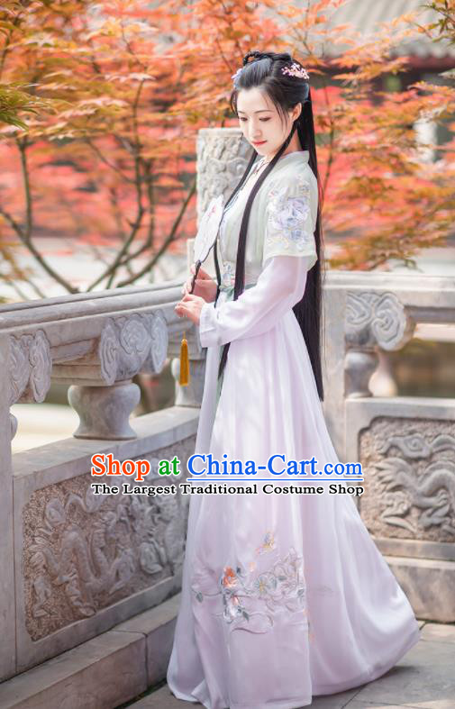 Chinese Ancient Rich Lady Embroidered Hanfu Dress Antique Traditional Song Dynasty Nobility Historical Costume for Women