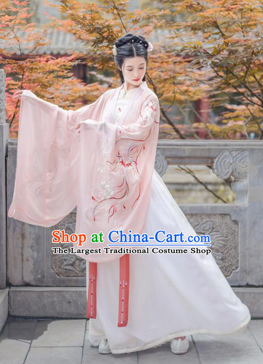 Chinese Ancient Jin Dynasty Princess Pink Hanfu Dress Antique Traditional Court Historical Costume for Women
