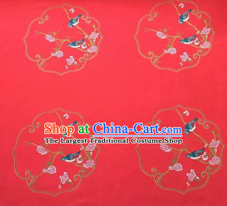 Asian Chinese Cheongsam Classical Roses Bird Pattern Red Satin Drapery Brocade Traditional Brocade Silk Fabric
