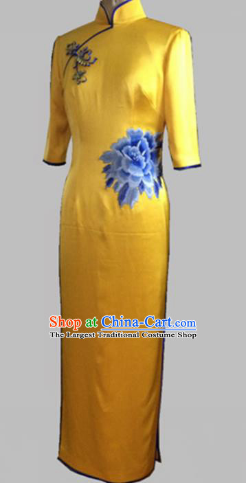 Chinese Traditional Customized Printing Peony Yellow Silk Cheongsam National Costume Classical Qipao Dress for Women
