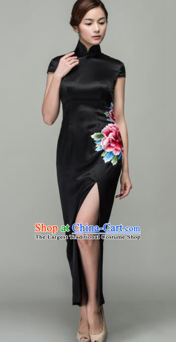 Chinese Traditional Customized Embroidered Peony Black Silk Cheongsam National Costume Classical Qipao Dress for Women