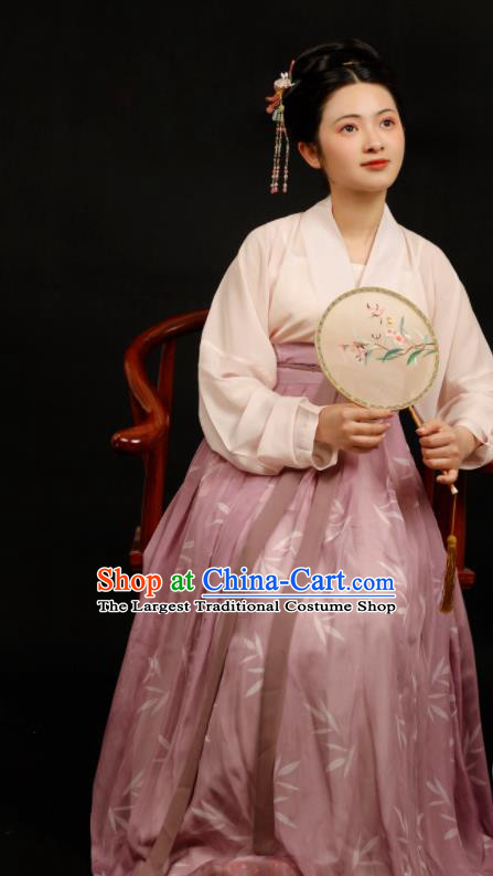 Chinese Traditional Song Dynasty Aristocratic Mistress Hanfu Dress Ancient Drama Nobility Silk Replica Costumes for Women