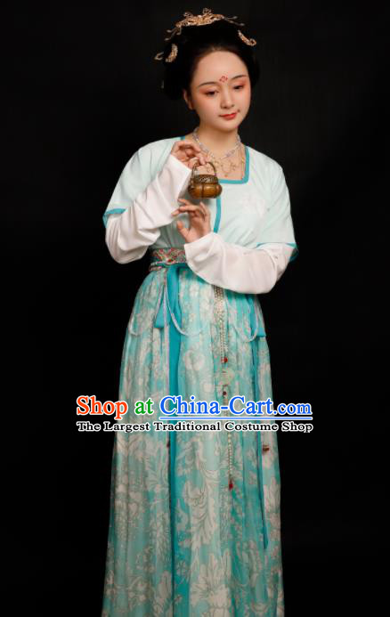 Chinese Traditional Tang Dynasty Las Meninas Hanfu Dress Ancient Drama Court Maid Replica Costumes for Women