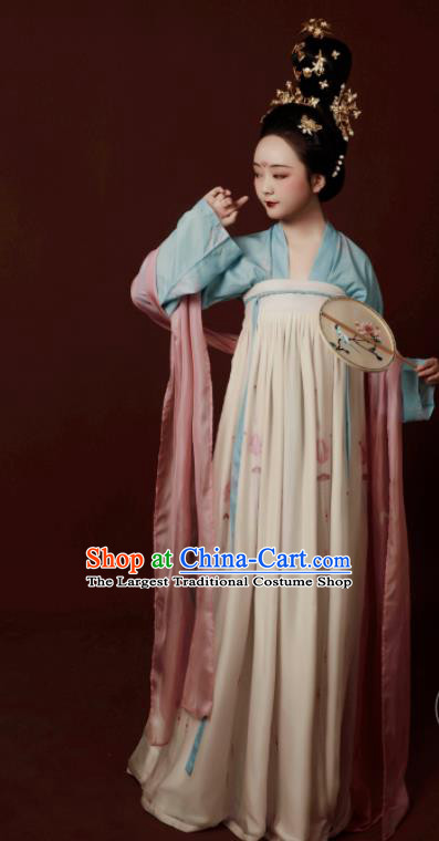 Traditional Chinese Tang Dynasty Court Maidservants Hanfu Dress Ancient Palace Lady Replica Costumes for Women