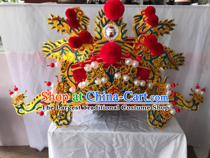 Traditional Chinese Beijing Opera God of Wealth Hat Ancient Prime Minister Headwear for Men