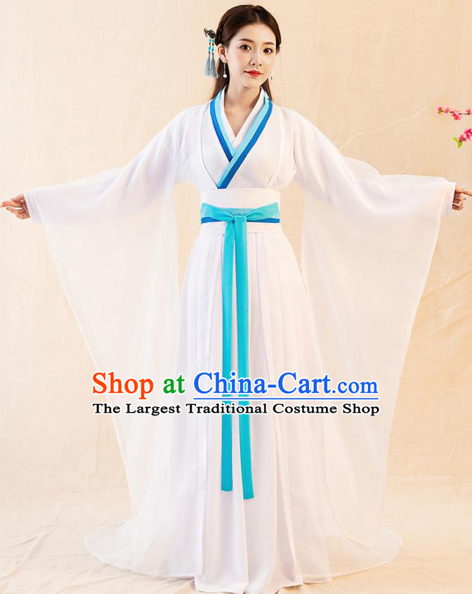 Traditional Chinese Jin Dynasty Court Lady White Hanfu Dress Ancient Palace Princess Replica Costumes for Women