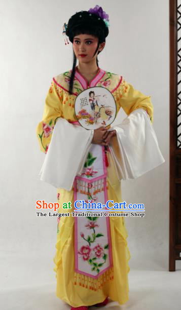 Traditional Chinese Huangmei Opera Diva Yellow Dress Ancient Peking Opera Nobility Lady Costume for Women